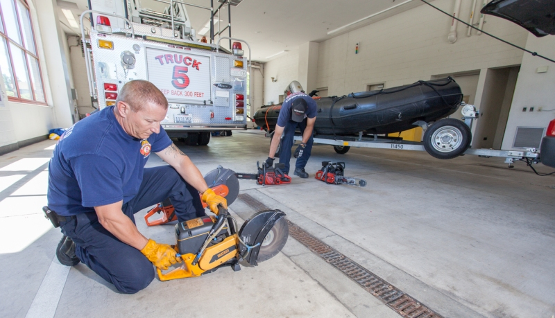Firefighters do equipment checks