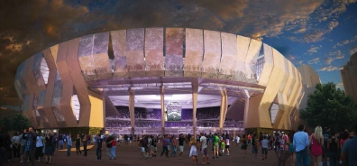 A proposed rendering of the Entertainment & Sports Center is seen at night.