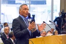 Developer Mark Friedman testifies to Council.