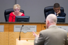 City Clerk, Shirley Concolino listen to a fervent Rob Rothblatt, Architecture Design Director of AECOM.