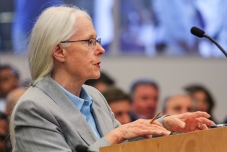 A citizen opposing the arena project speaks to Council