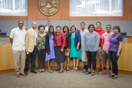Councilmember Pannell flanked by her family at the City Hall Council Chambers