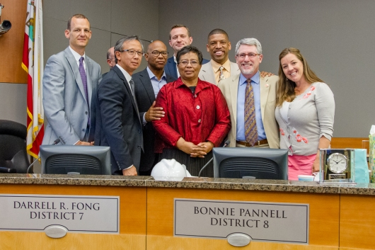 Councilmember Bonnie Pannell surrounded by the full Council