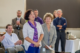 Fran Halbakken, Railyards Manager, and Hinda Chandler, lead architect stand for recognition.