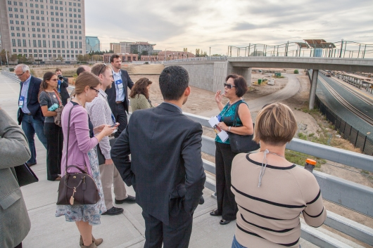 Fran Halbakken, Railyards Manager gives a short tour to conference participants.