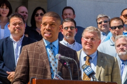 Mayor Kevin Johnson rallies for support from the State during a historic drought.