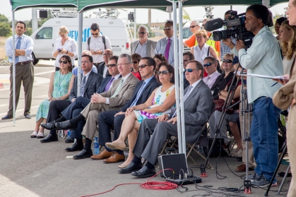 City officials come together to hear the exciting news for the Sacramento Railyards.