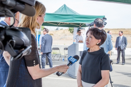 Congresswoman Doris Matsui answers questions from the media.