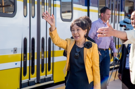 Congresswoman Doris Matsui enters the station via light rail