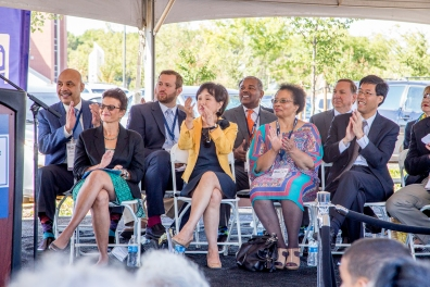 Sacramento City Council Members, current and former, as well as federal staff and Congresswoman Doris Matsui applaud a speaker