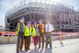 Left to right, Council Members Jeff Harris, Eric Guerra, Angelique Ashby, Larry Carr City Manager John Shirey in front of Golden 1 Center