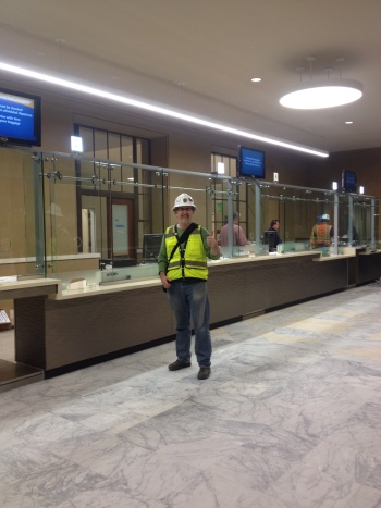 New Amtrak ticket room, opened March 19, as seen here with the City's senior project manager, Greg Taylor