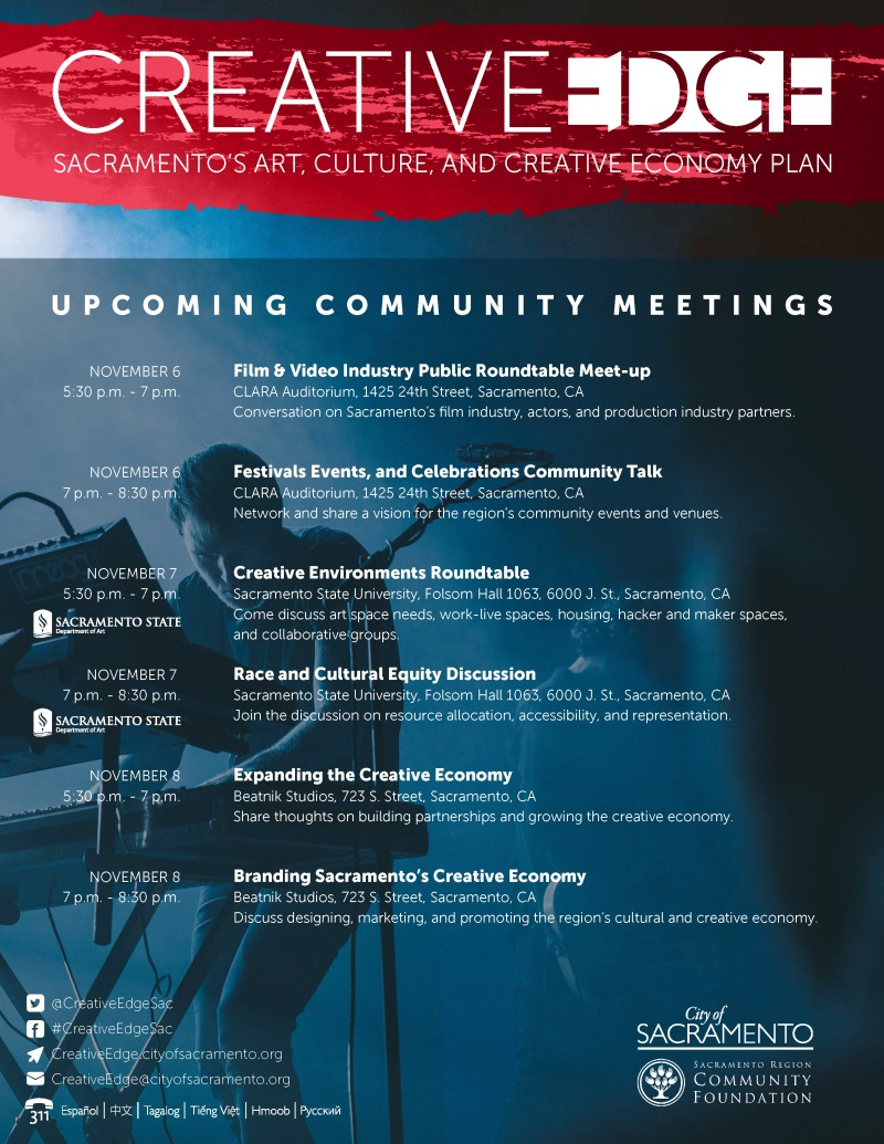 Sac State Round Table.Creative Edge Community Meetings Announced For November City Express