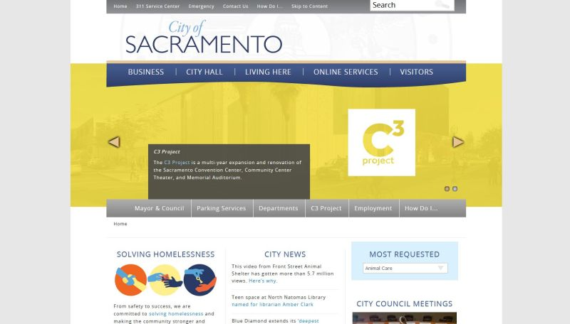 The current City of Sacramento website.